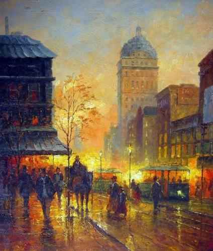 Charming-Oil-painting-impressionism-font-b-Paris-b-font-Street-Scene-at-night-free-postage